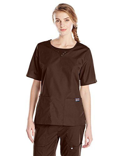 Cherokee Uniforms Rundhalskasack für Damen mit Knöpfen - Schokoladenbraun